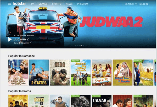 Hotstar is one of the best websites to watch latest Hindi movies.