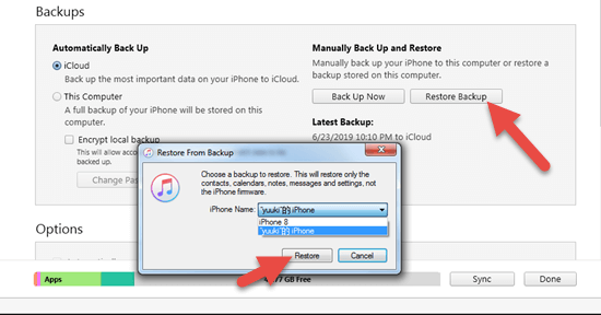 Recover Data from iTunes backup.
