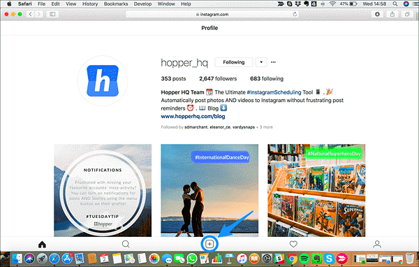 Use the Safari browser to post on Instagram from Mac OS.