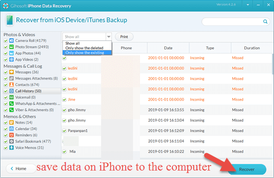 Backup iPhone to Computer via Gihosoft iPhone Data Recovery