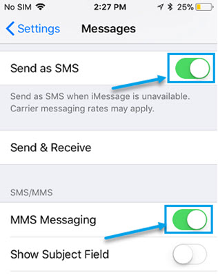 Enable the Send as SMS Option to fix iMessage not delivered on iPhone.