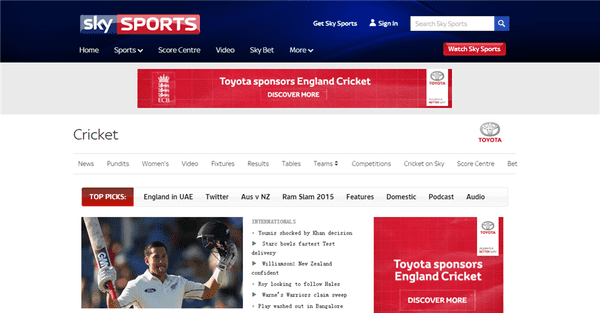 Skysports is one of the best live cricket streaming sites to watch online cricket.