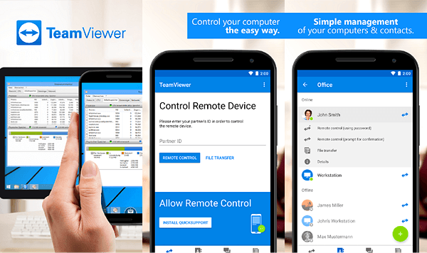 Using TeamViewer to remote control PC from Android.