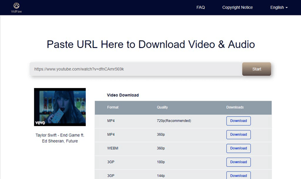 Using VidPaw to download YouTube video subtitles.
