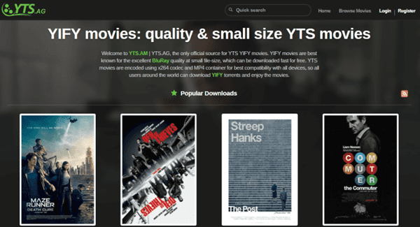 YTS is one of the best torrent websites in India.