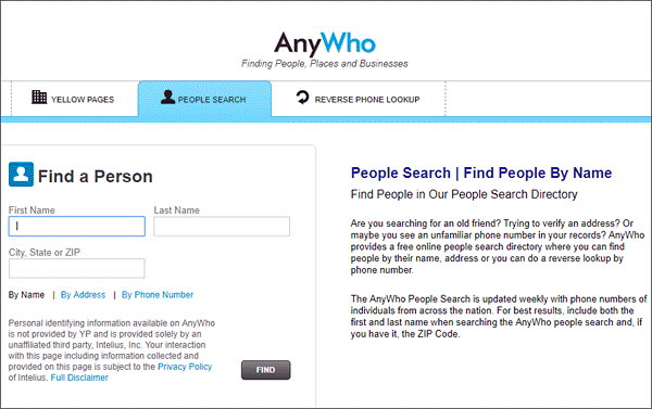 AnyWho reverse phone lookup tool helps you find the identity of the person associated with a number by using yellow pages.