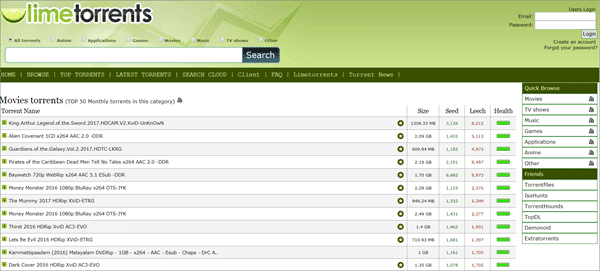 LimeTorrents is one of the top best sites like iDope to search for torrent files.