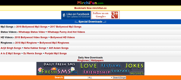 Using Mirchi Fun to download Hindi Mp3 songs.