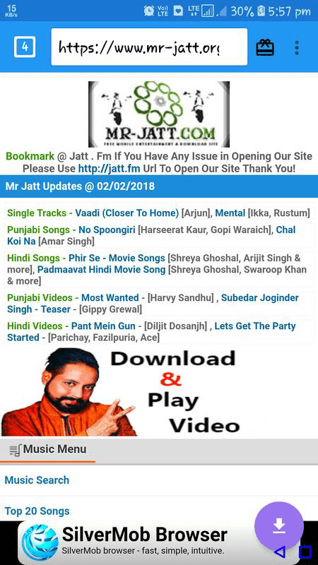 Using Mr. Jatt to download Hindi Mp3 songs.