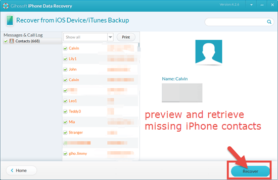 Retrieve Missing iPhone Contacts with Data Recovery Tool