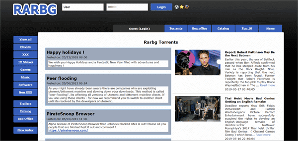 RARBG is one of the top best sites like iDope to search for torrent files.