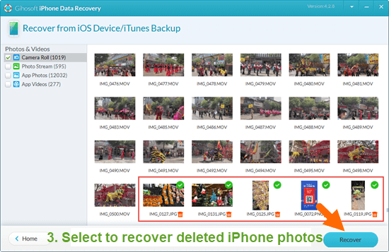 Scan, rreview and recover deleted photos from iPhone to computer.
