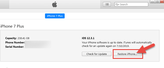 Restore iPhone via iTunes