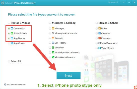 Download & launch iPhone photo recovery on your PC or Mac.