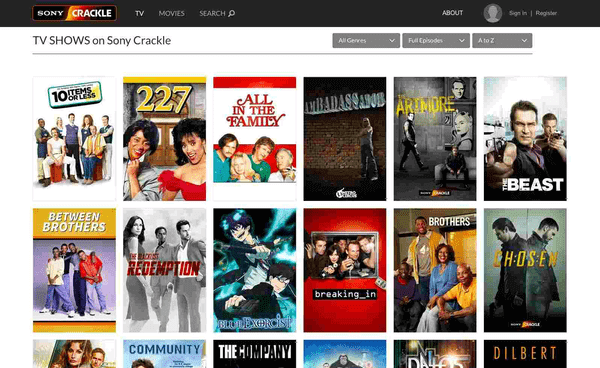 Using Crackle for online streaming Free TV shows.