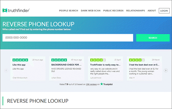 TruthFinder Phone lookup is one of the safest reverse phone number lookup services.