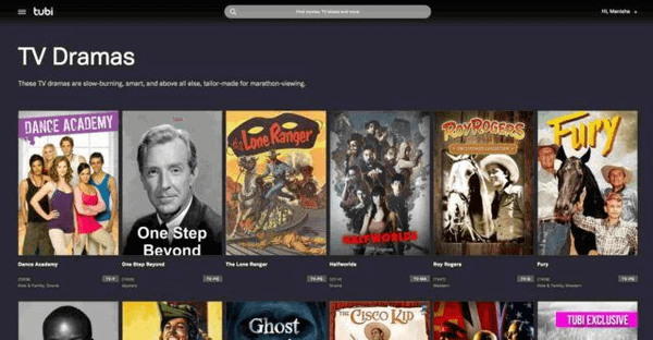 The next best online streaming site is Tubi.