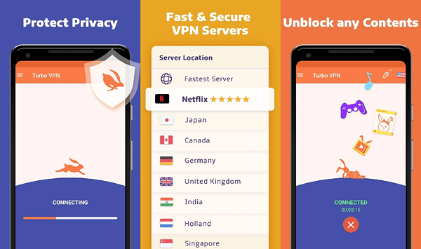 Turbo VPN is one of the top best free Android VPNs that are still working.