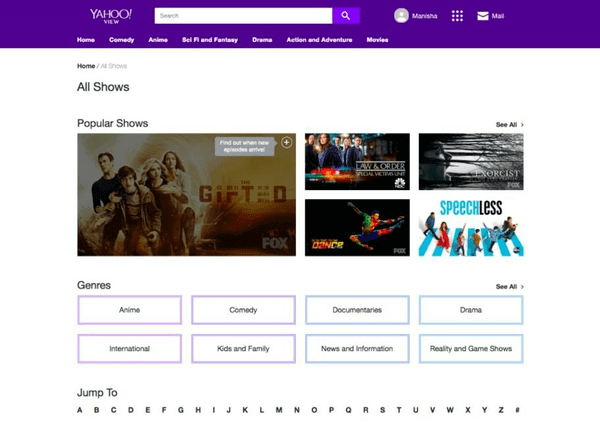 Yahoo View for online streaming Free TV shows.