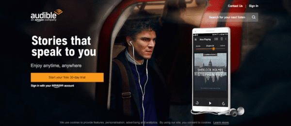 Audible website is also owned by Amazon company.