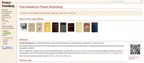 Project Gutenburg website is one of the most incredible kinds of websites for those users