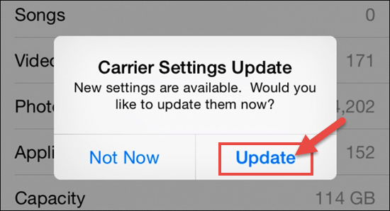 Update Carrier Settings to Fix iPhone Cellular Data Not Working