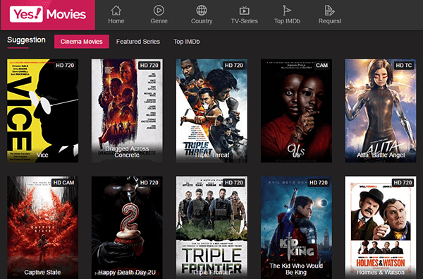 Yes Movies is a favorite among many free online movie streaming sites because it has very little adds.