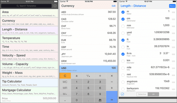 Use this app if you need to convert multiple units and currencies at once.