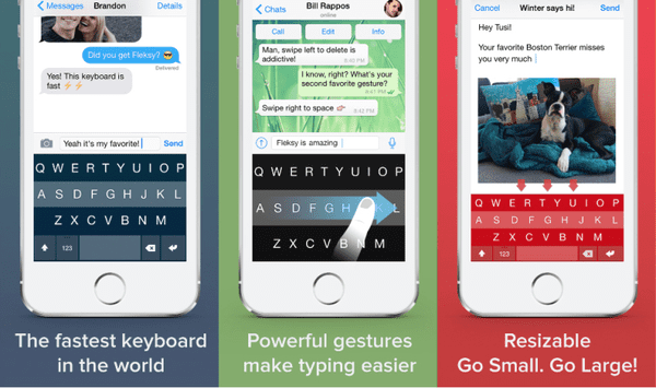 Fleksy is a free keyboard app for iPhone which is designed to help you type efficiently and faster.