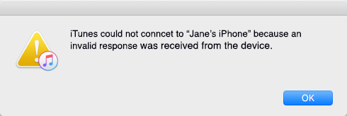 iTunes Could Not Connect to This iPhone Because An Invalid Response