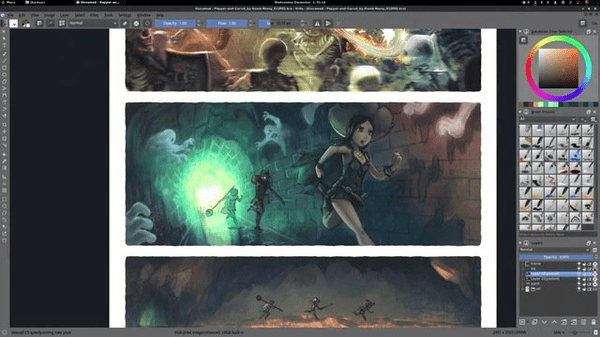 Krita is mainly focused on the creation of illustrations and other comics of that sort.