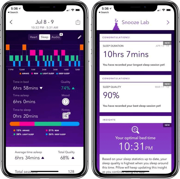 This top-notch app for iOS integrates its algorithm with the latest sleep analysis scientific findings.