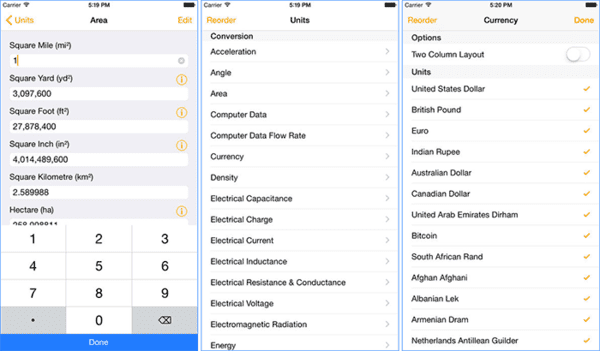 With Units – Free Unit Converter, you can convert over 800 units in 43 different categories