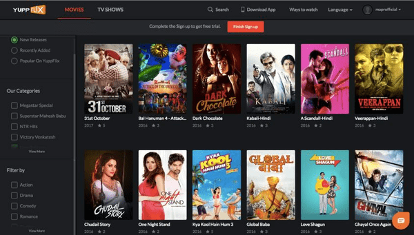 Yuppflix is an awesome free streaming website for users