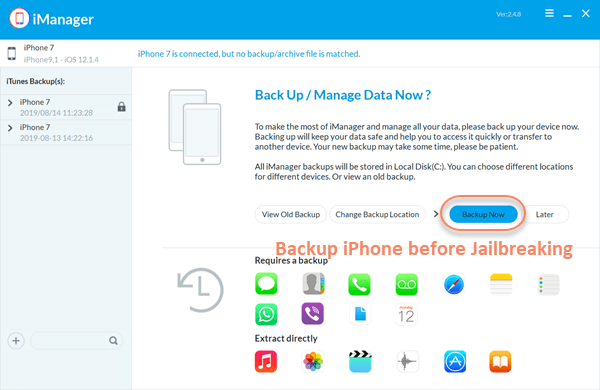 How to Backup iPhone before Jailbreaking with iManager