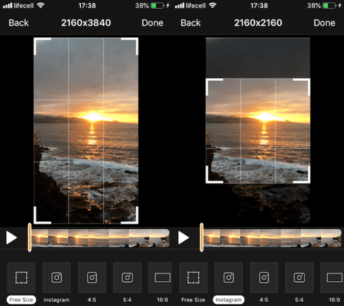Here's how to crop a clip to Instagram using Video Crop