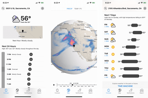 Dark Sky is one of the top weather apps to watch Apple.