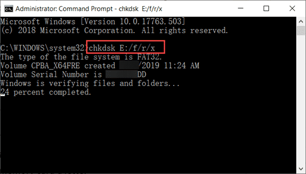 Fix Corrupted SD Card with CHKDSK Command