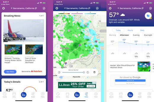 The Weather Channel is known for precise weather forecasts and real-time.
