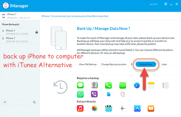 Back up iPhone with an iTunes Alternative Tool