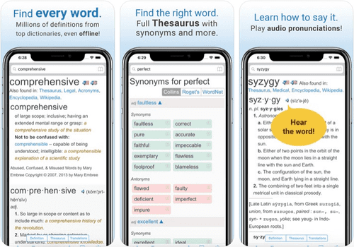 Dictionary is one of the highest ranking apps in the app store.