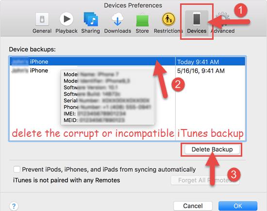 Delete the Corrupt or Incompatible iTunes Backup