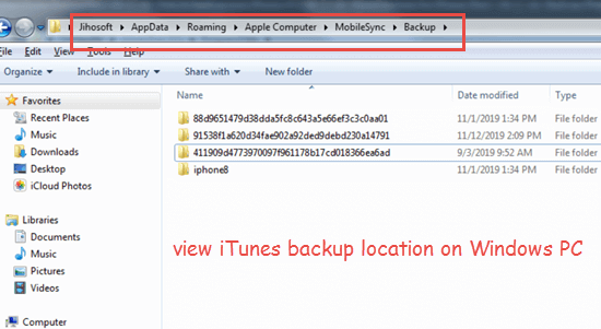 Find iPhone backup location on Windows PC