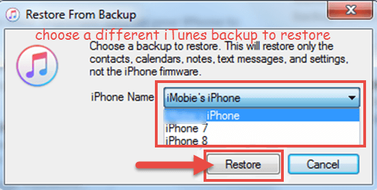 Restore iPhone from a different backup in iTunes