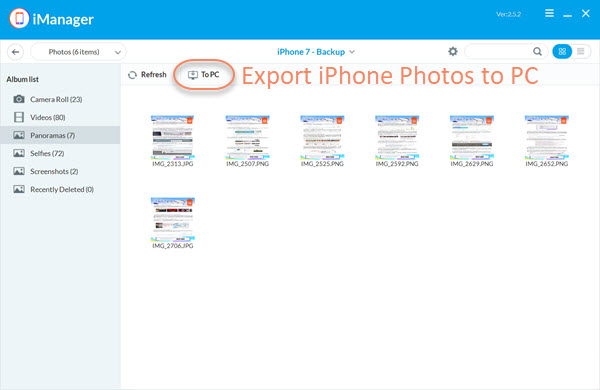 Transfer Photos from iPhone to PC via Gihosoft iManager.