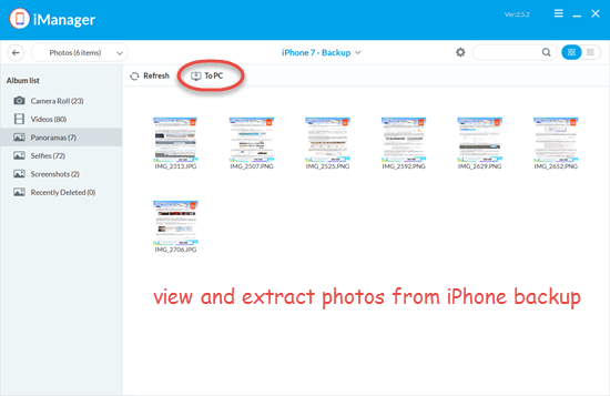 Extract photos from iPhone backup selectively