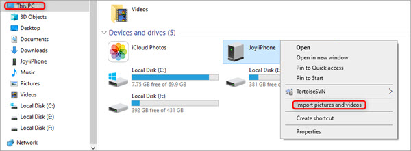 Transfer Videos from iPhone to PC via Windows Explorer