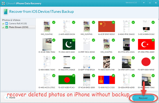 Retrieve deleted photos from iPhone without backup