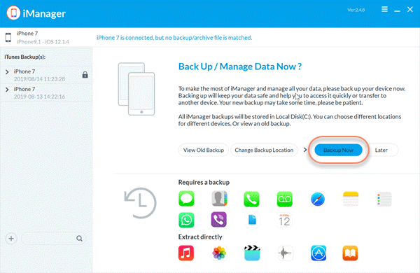To transfer data from iPhone/iPad to your computer with Gihosoft iManager.