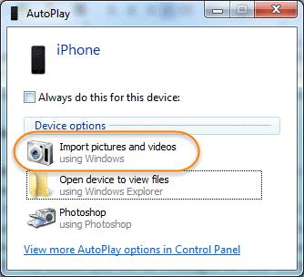 Move iPhone Photos to PC through Windows AutoPlay